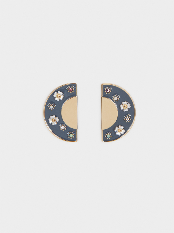Watercolor Small Earrings With Flowers, Multicolor, hi-res