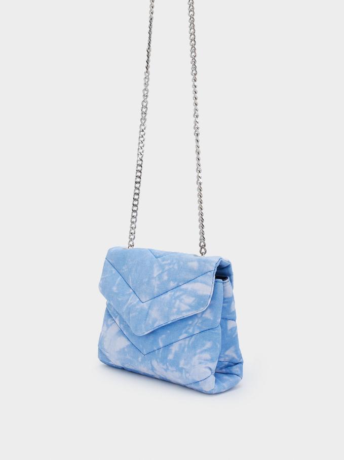 Bolso Bandolera Tie-Dye Con Asa De Cadena, Azul, hi-res