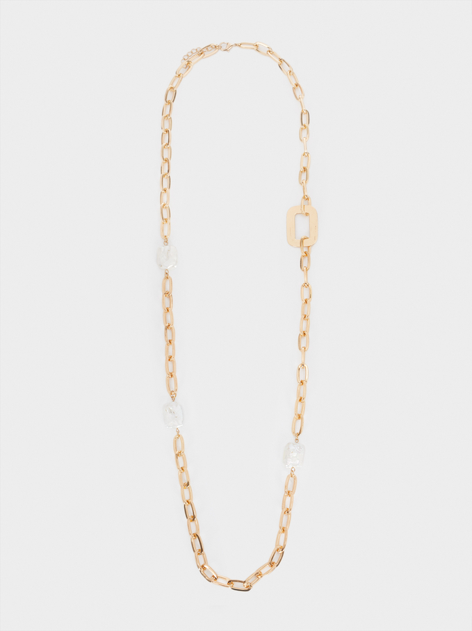 Long Gold-Toned Chain Necklace With Pearl , Golden, hi-res