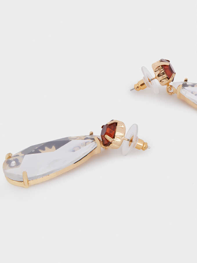 Long Gold Earrings With Resin, Golden, hi-res