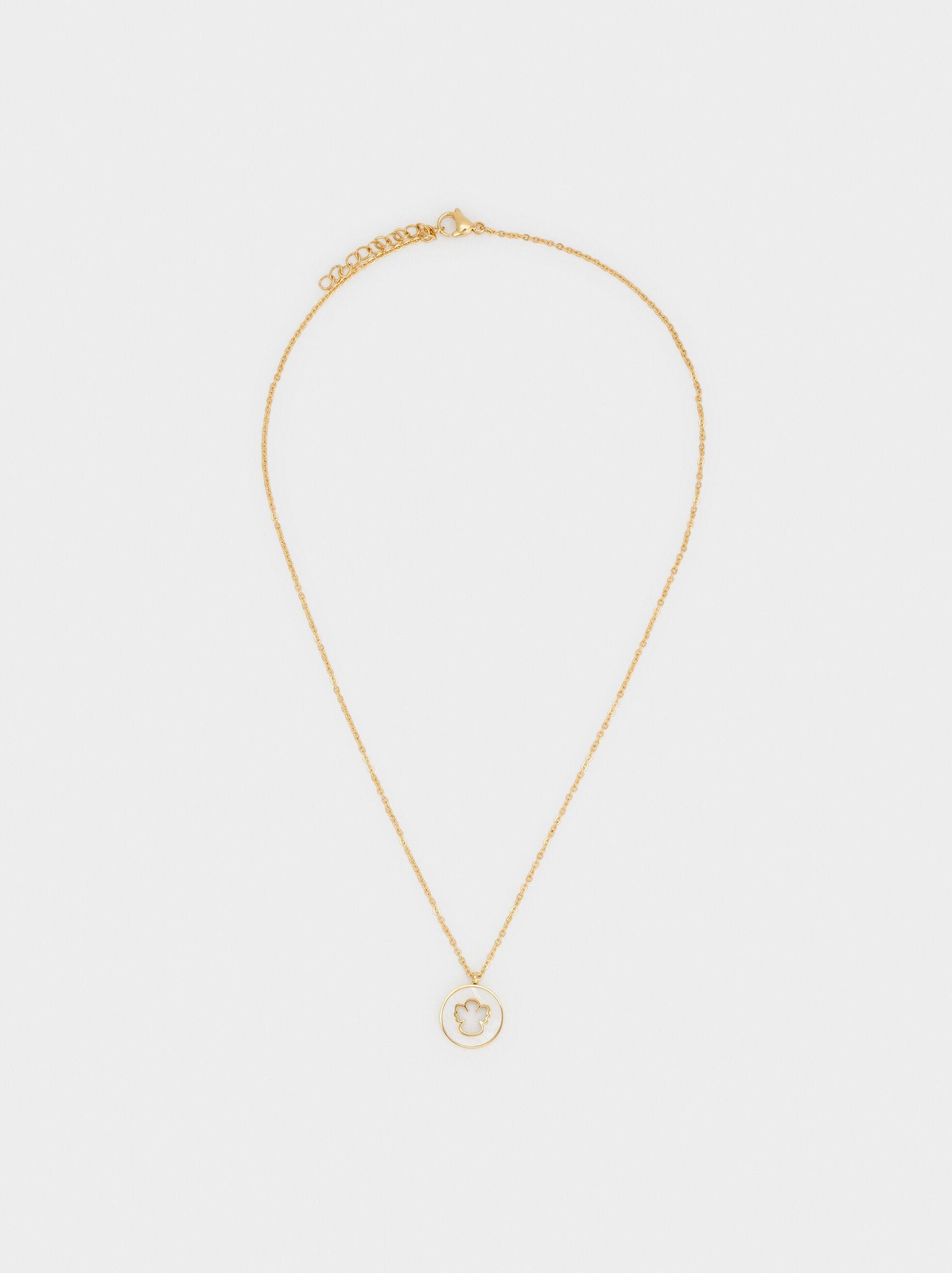 Short Steel Necklace With Cherub Pendant, , hi-res