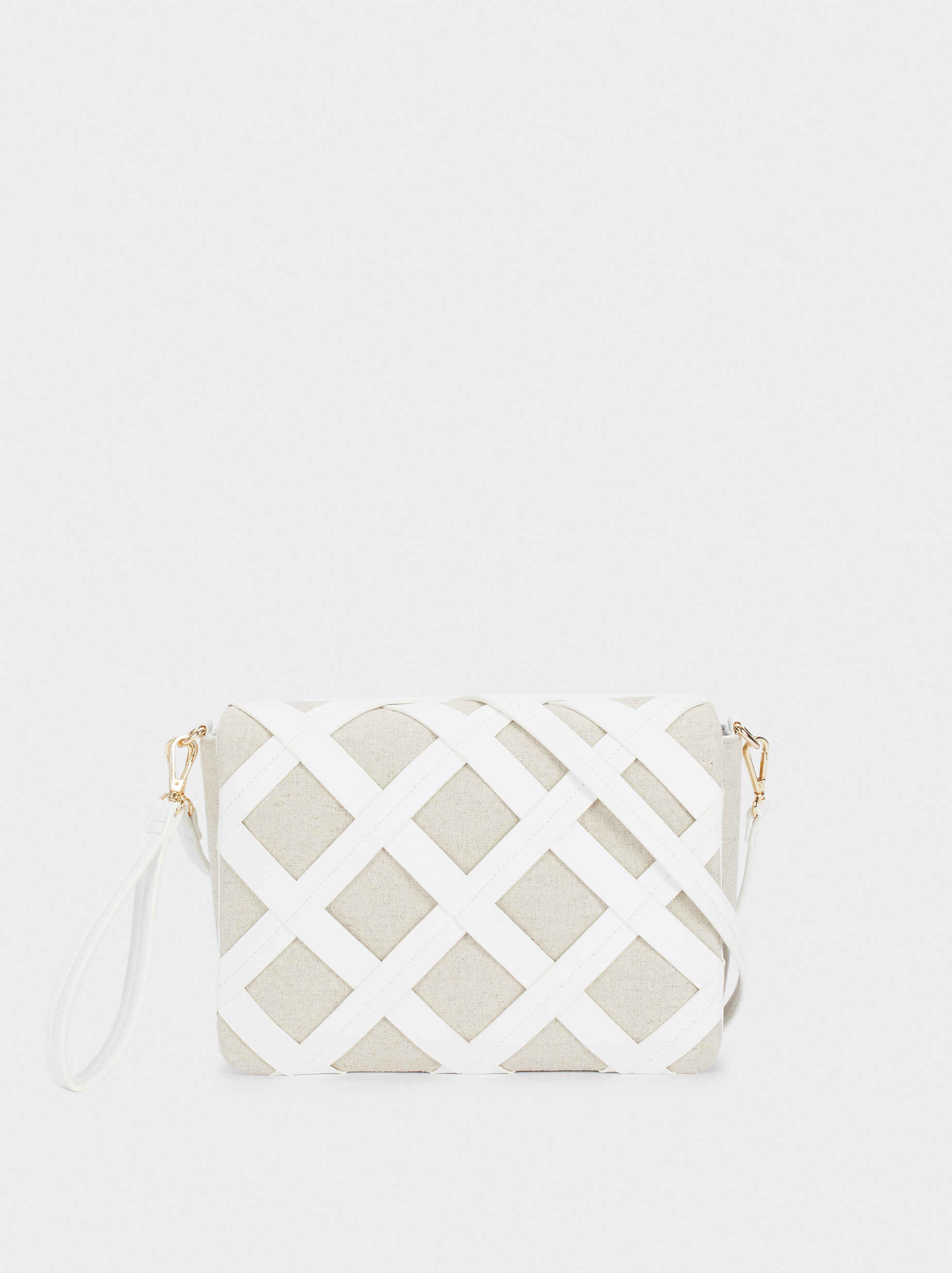 Handbag With Check Detail, Beige, hi-res