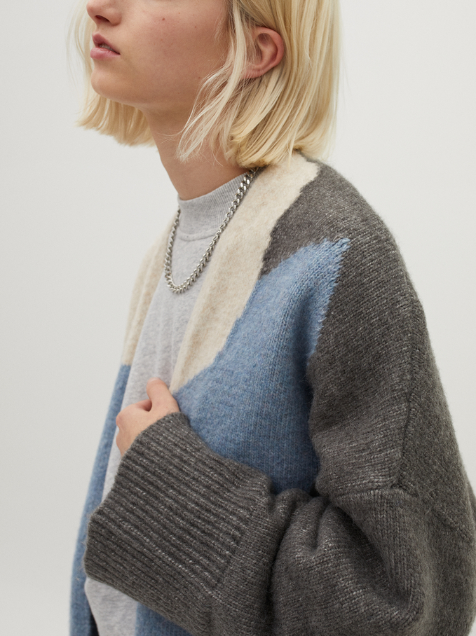 Knit Jacket With Multicoloured Print, Grey, hi-res