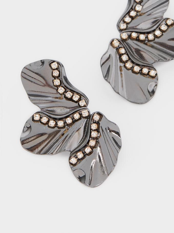 Brincos Compridos Com Pedras, Multicor, hi-res