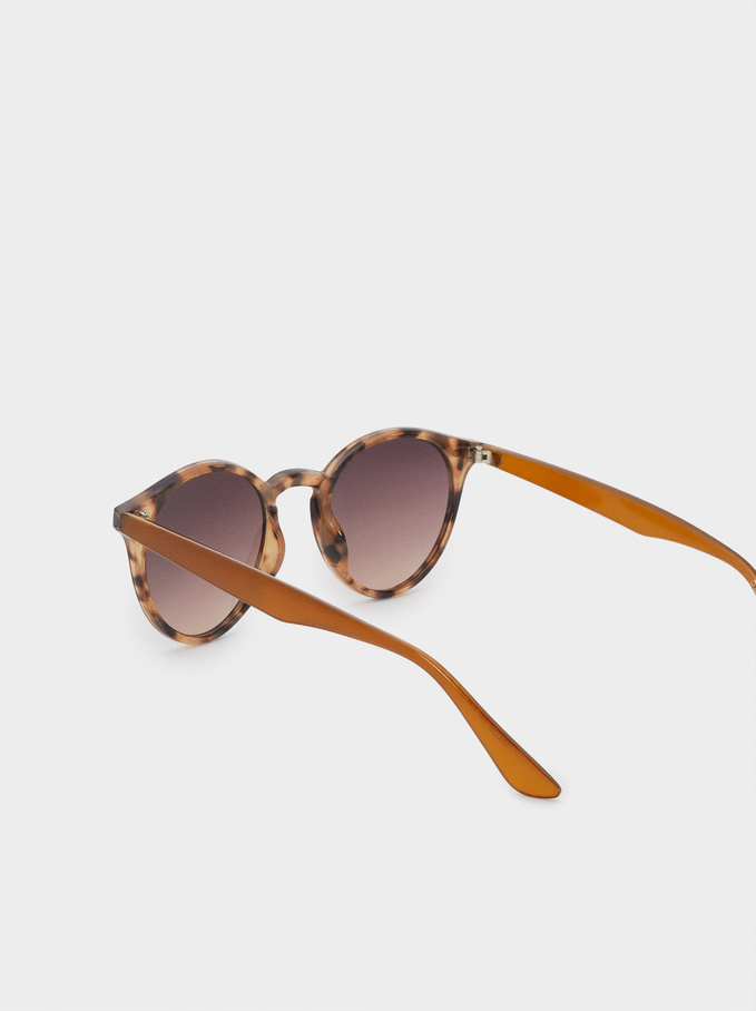 Sunglasses With Round Frames, Brown, hi-res