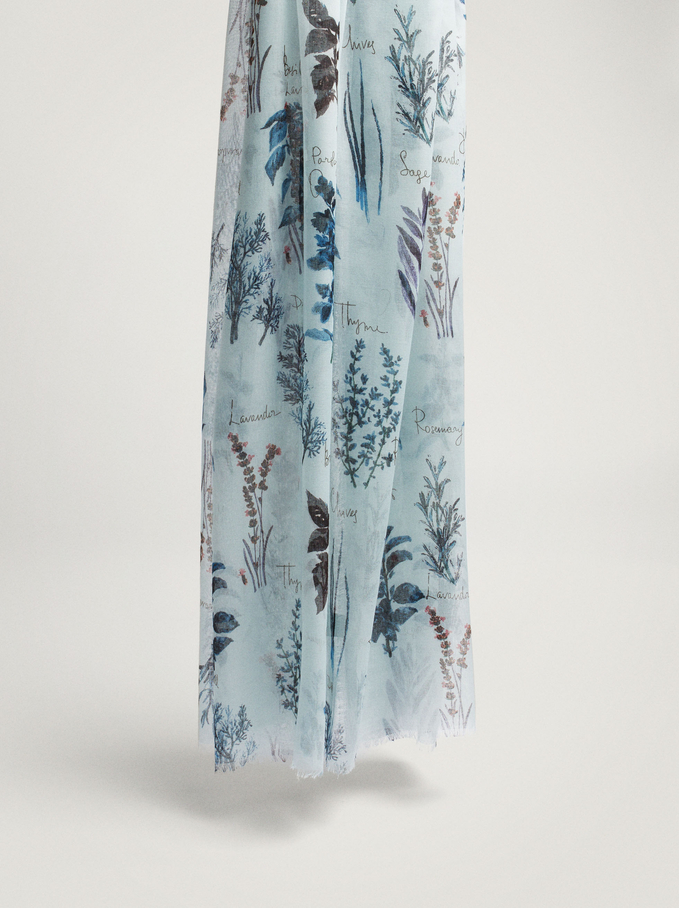 Printed Scarf Made From Recycled Materials, Blue, hi-res