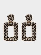 Boucles D'Oreilles Longues En Métal Doré, Doré, hi-res