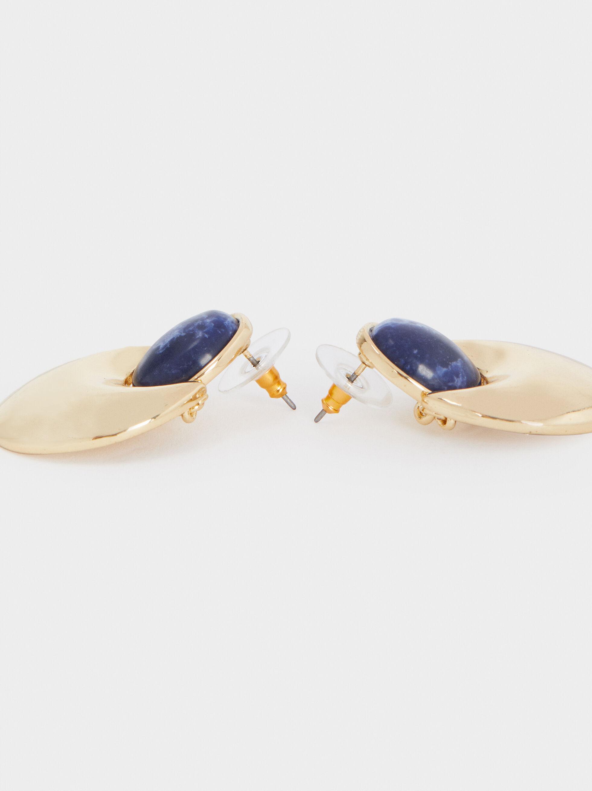 Medium Gold Earrings With Gems, Grey, hi-res