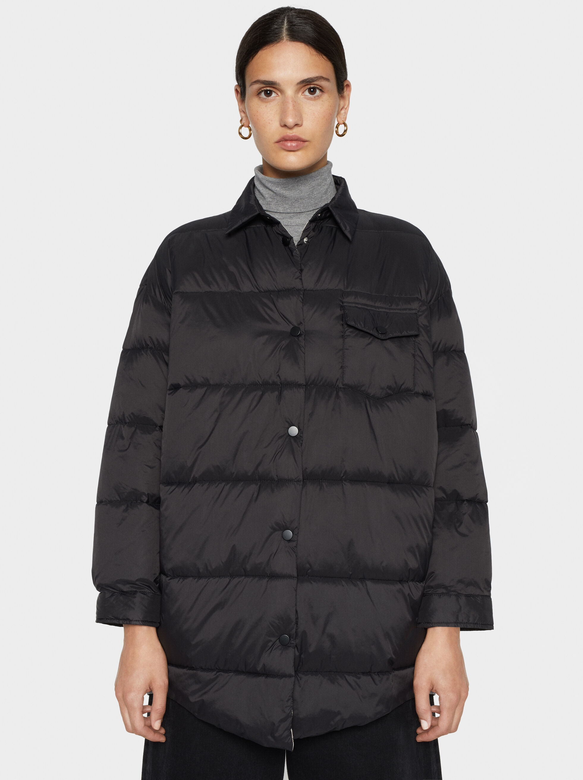 Oversized Quilted Jacket, , hi-res