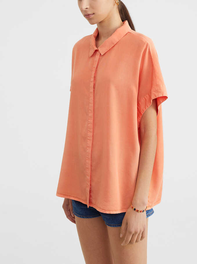 Sleeveless Oversized Shirt, Pink, hi-res