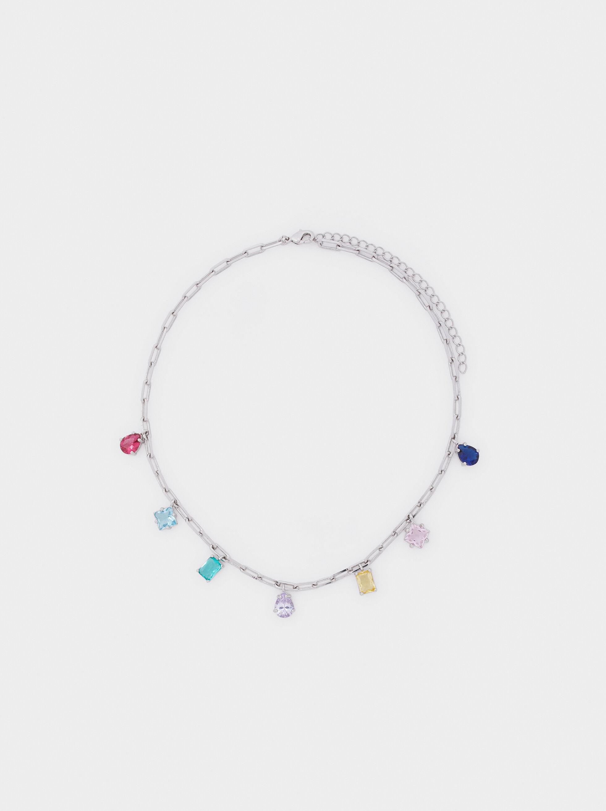Short Necklace With Multicolour Crystals, Multicolor, hi-res