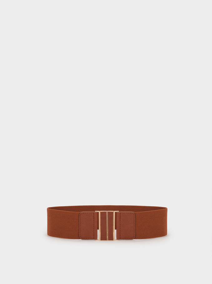 Stretch Belt, Brown, hi-res