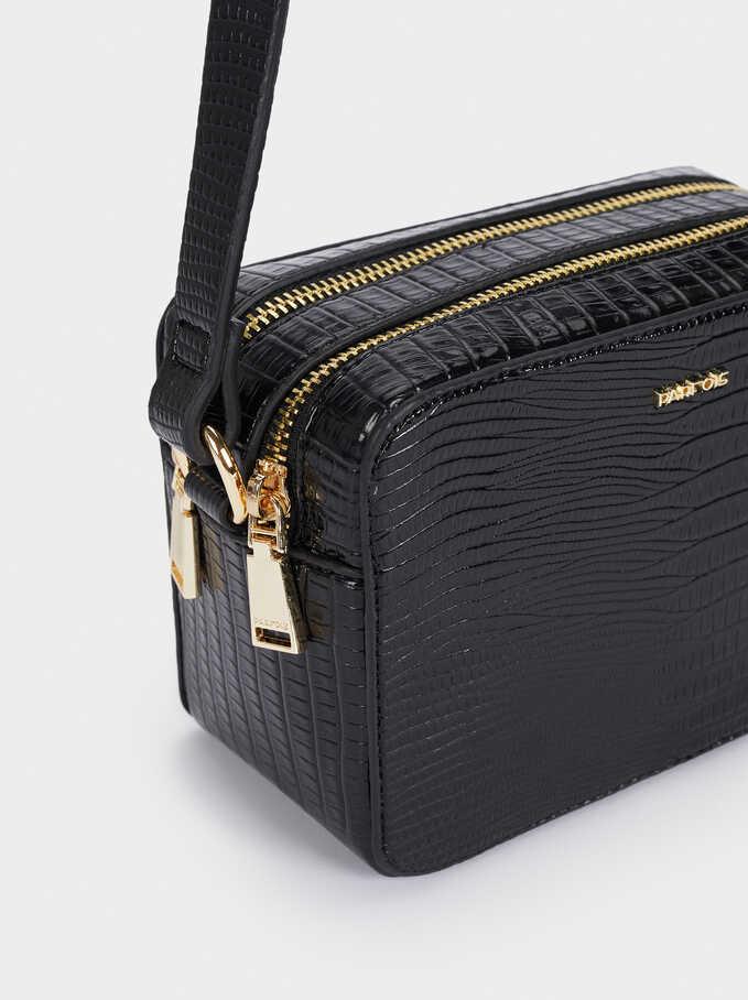 Crossbody Bag With Embossed Animal Print, Black, hi-res