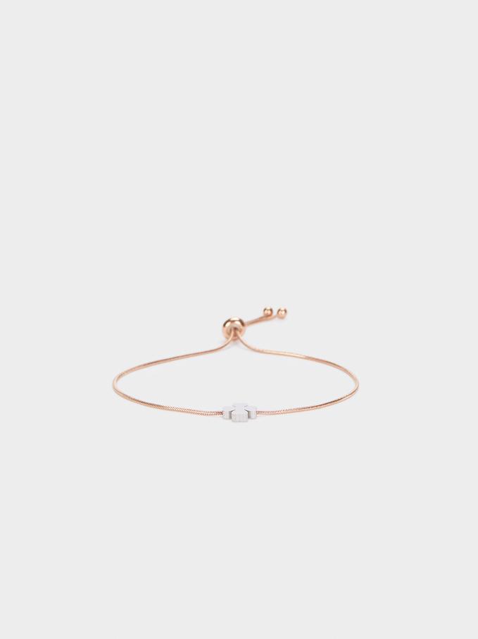 Adjustable Bracelet With Shamrock Detail, Orange, hi-res