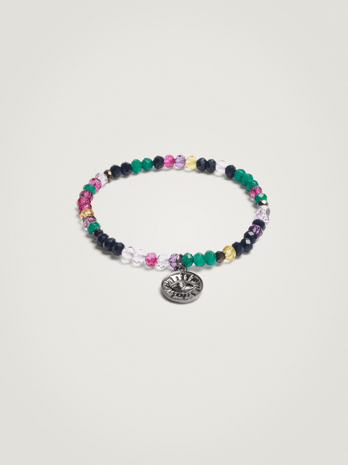 Elastic Bracelet With Beads And Snake, Multicolor, hi-res