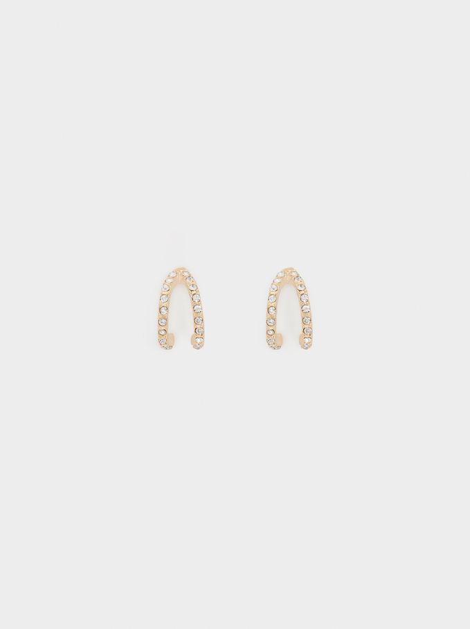 Small Hoop Earrings With Crystals, Golden, hi-res