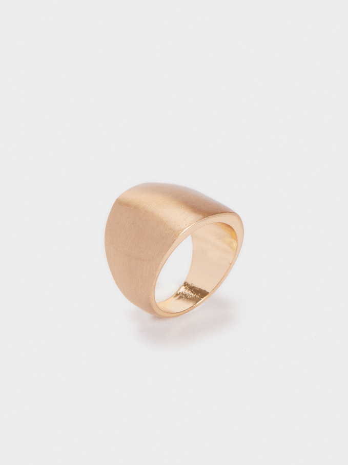 Gold-Toned Brushed Ring, Golden, hi-res