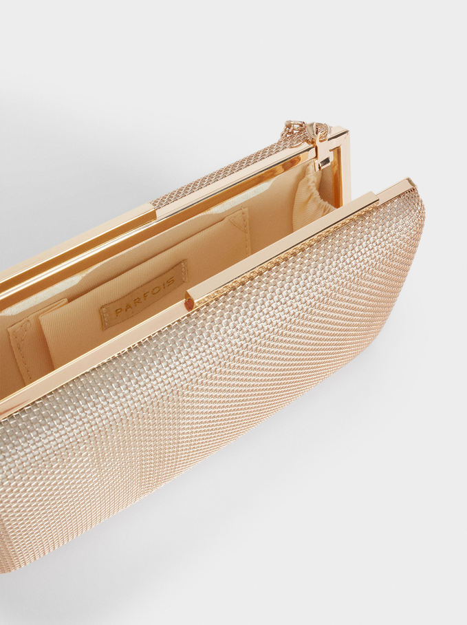 Party Clutch With Chain Handle, Golden, hi-res