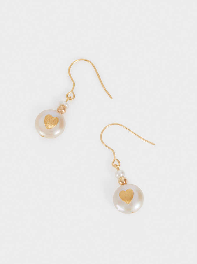 Short 925 Silver Earrings With Pearl And Heart, Beige, hi-res