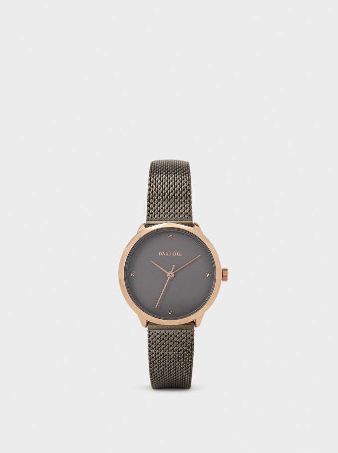 Reloj De Pulsera Correa Malla Metálica, Negro, hi-res