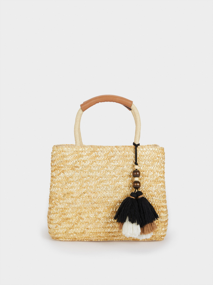 Raffia Textured Crossbody Bag With Pendants, Beige, hi-res