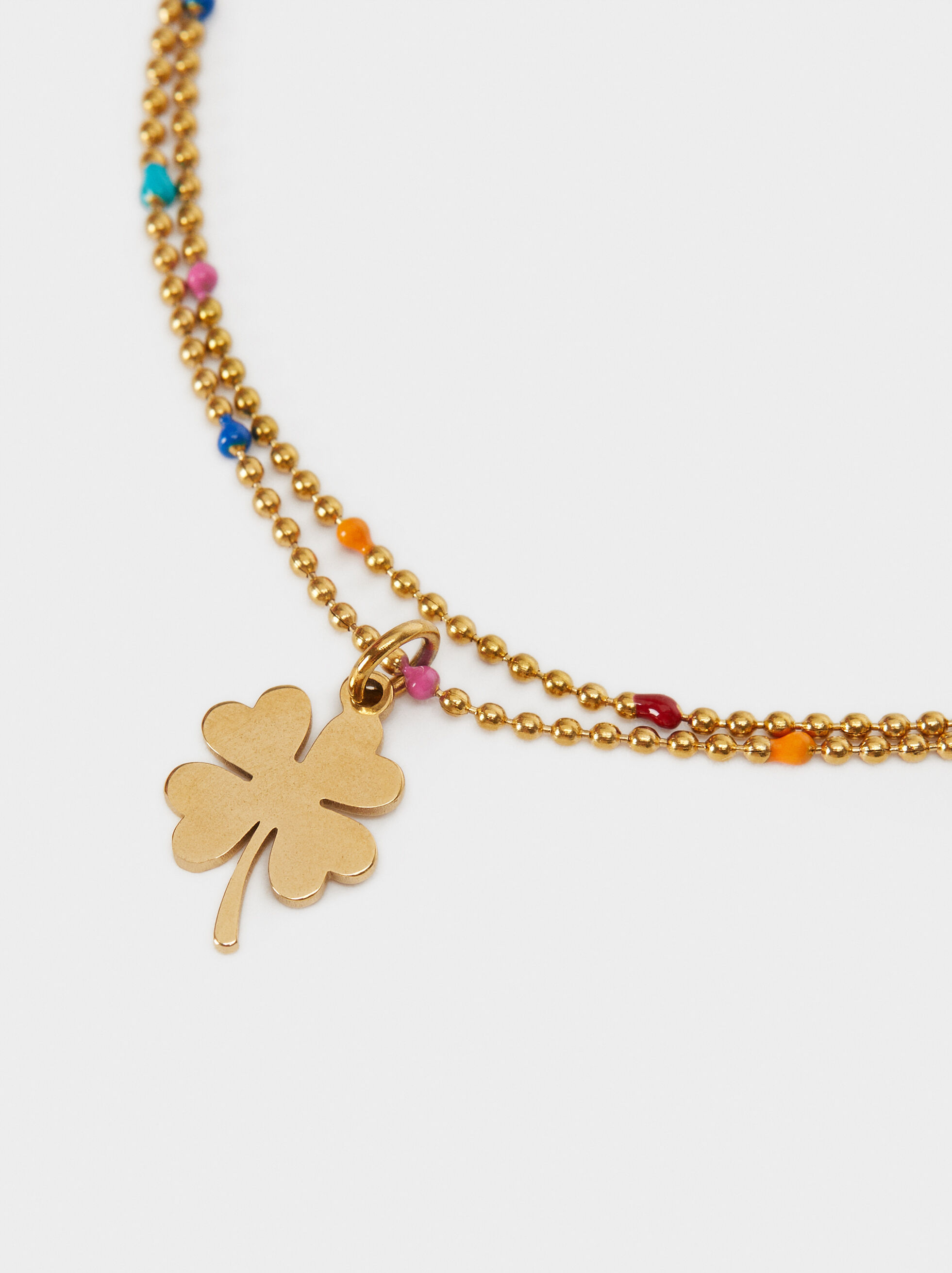 Stainless Steel Bracelet With Multi-Coloured Clover Leaves, Multicolor, hi-res