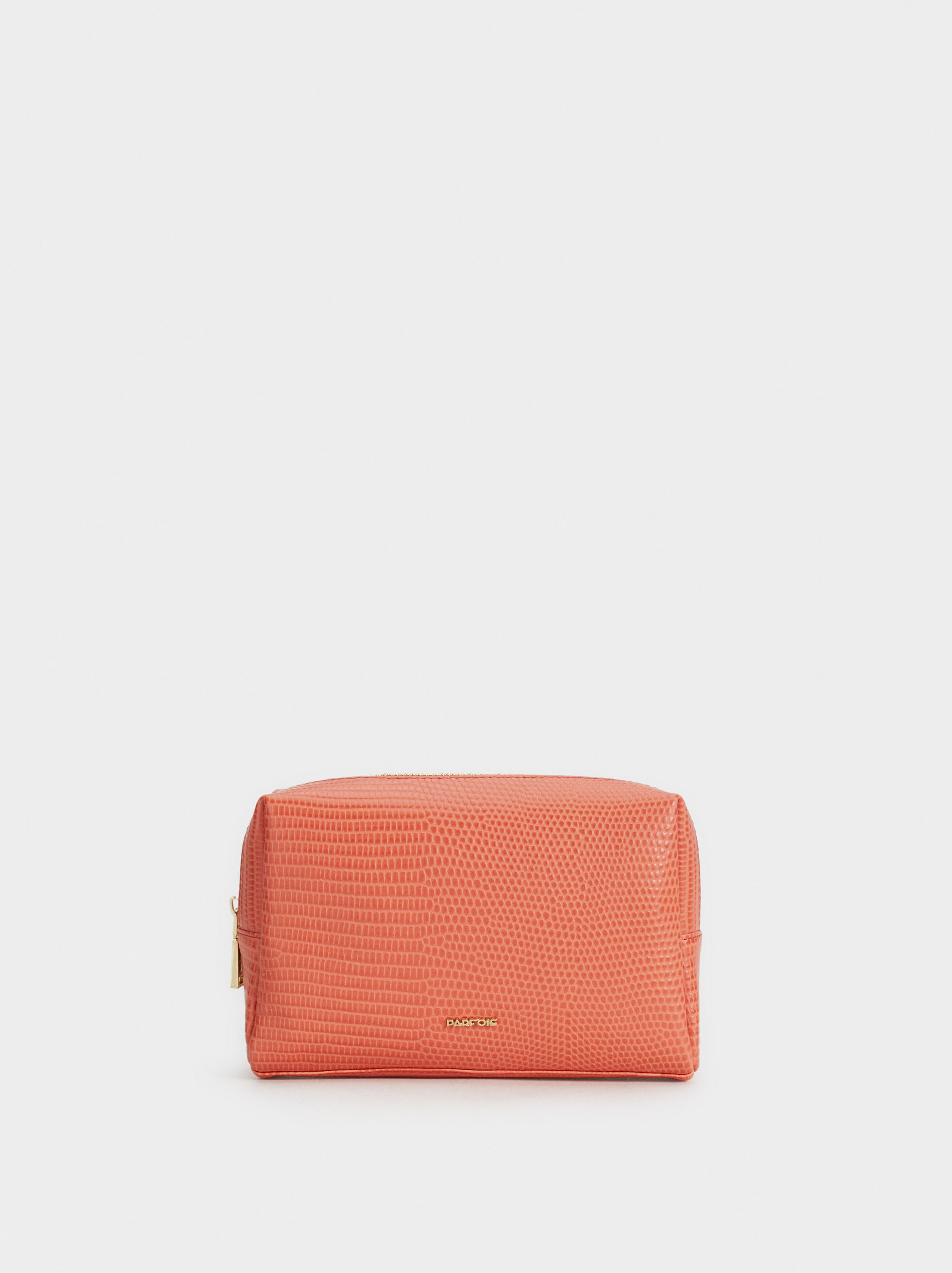 Faux Snakeskin Toiletry Bag, Orange, hi-res