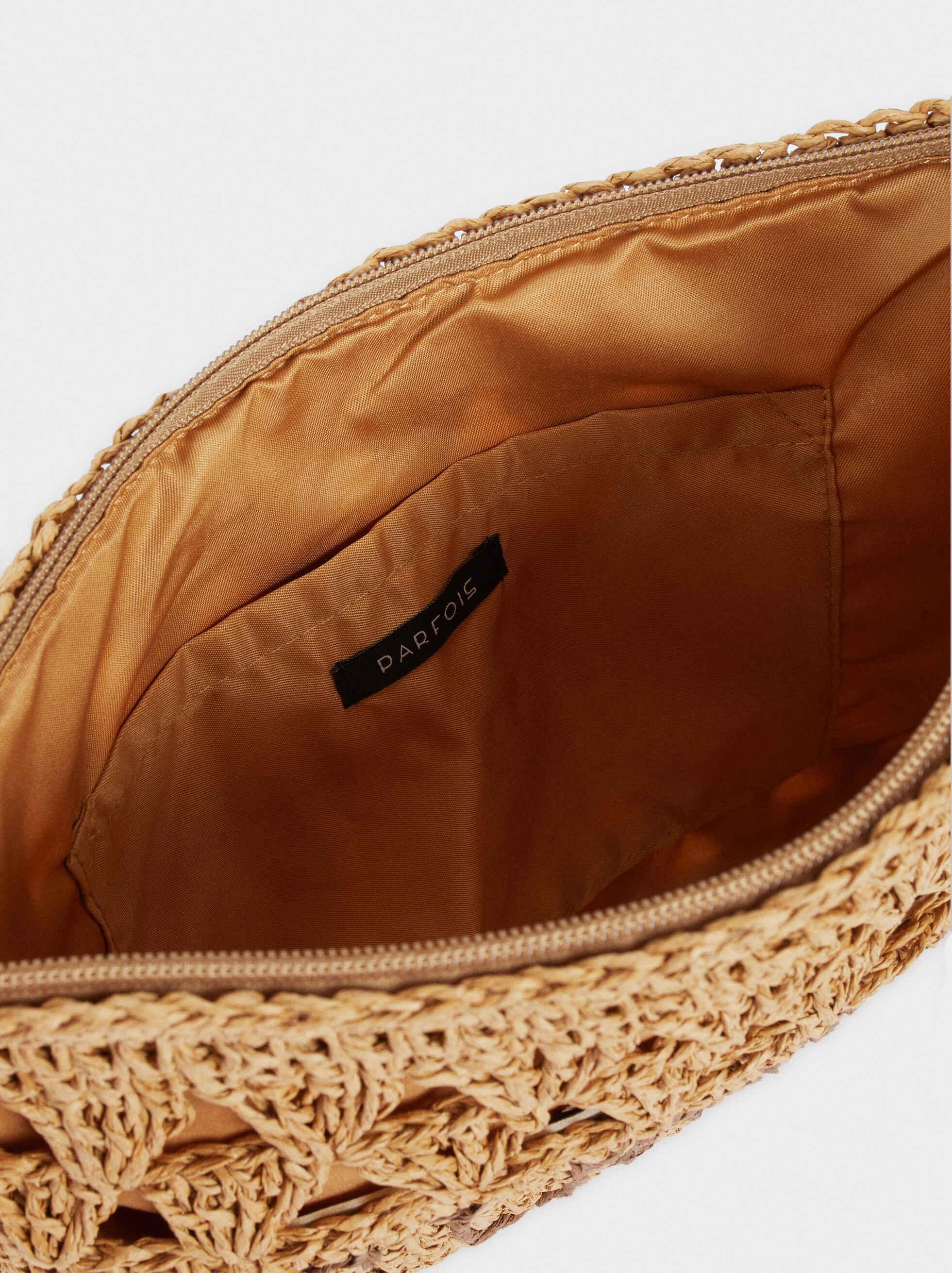 Raffia Textured Clutch Bag, Beige, hi-res