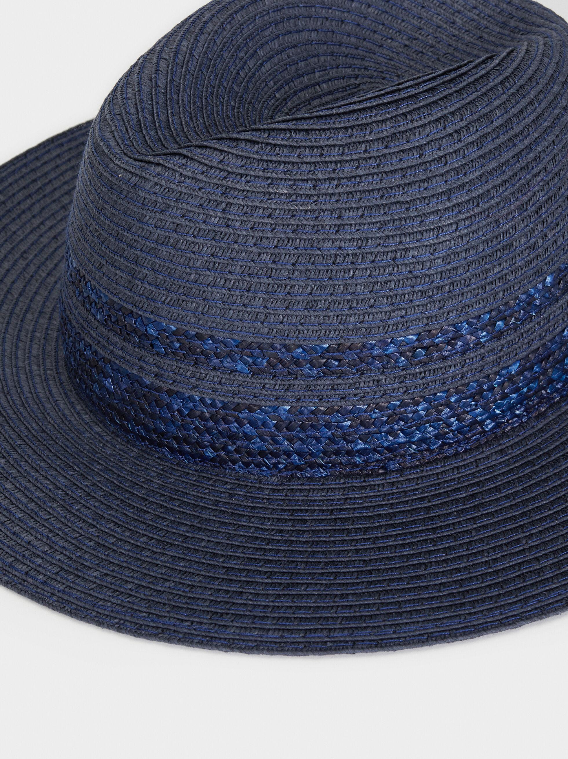 Raffia Texture Hat, Blue, hi-res