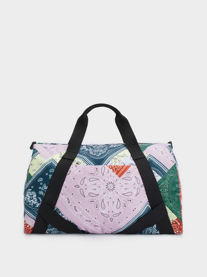 Nylon Printed Gym Bag, Multicolor, hi-res