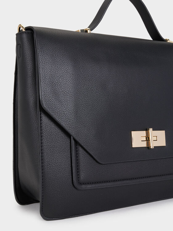 Briefcase With Metallic Detail, Black, hi-res