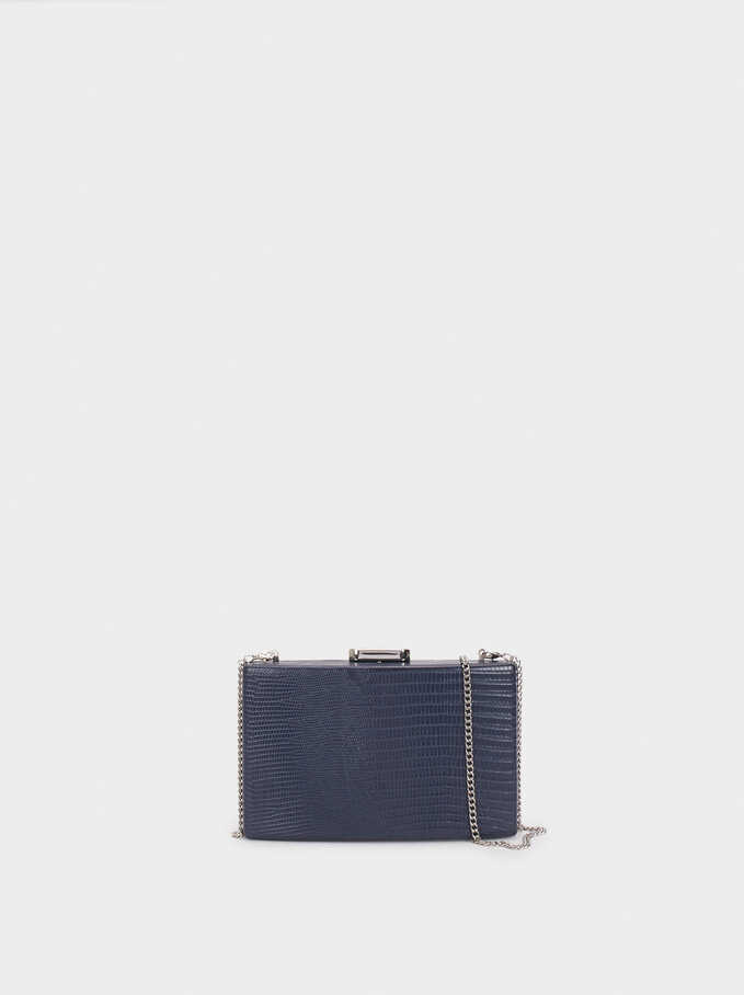 Animal Embossed Clutch, Navy, hi-res
