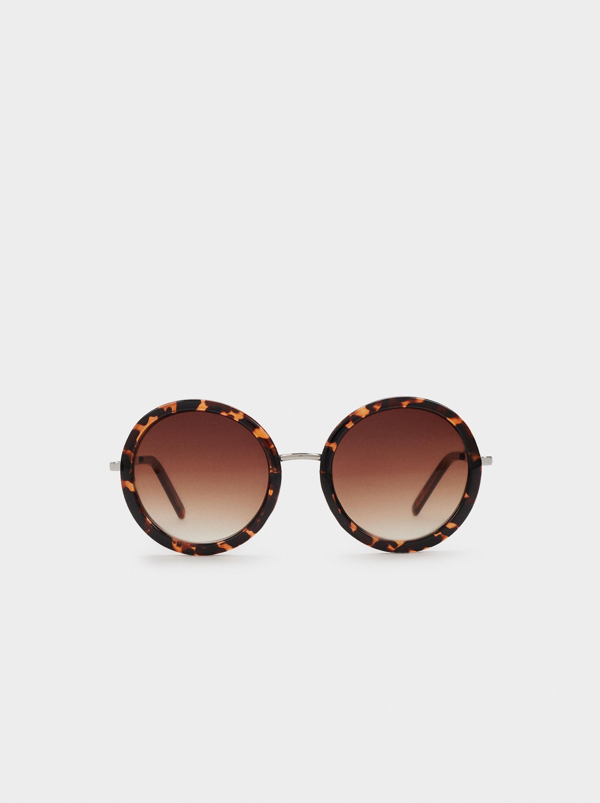 Round Tortoiseshell Sunglasses, Camel, hi-res