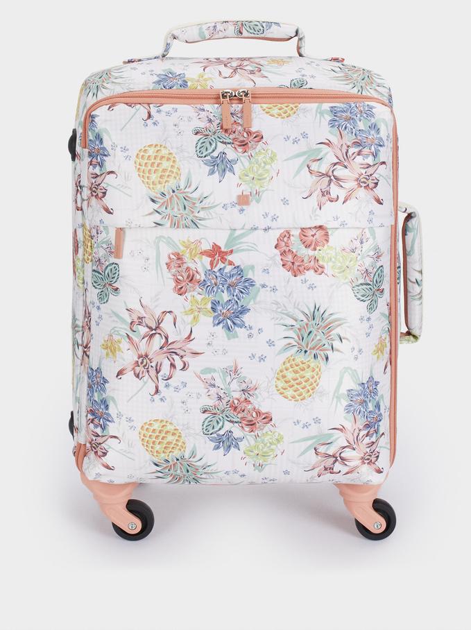Print Nylon Suitcase, Coral, hi-res
