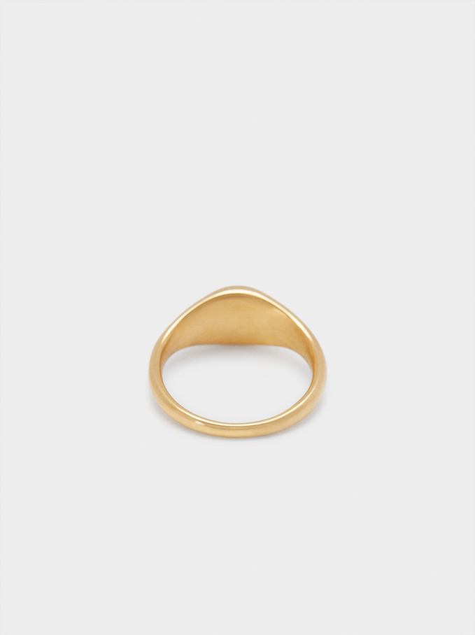 Stainless Steel Signet Ring With Star Detail, Golden, hi-res