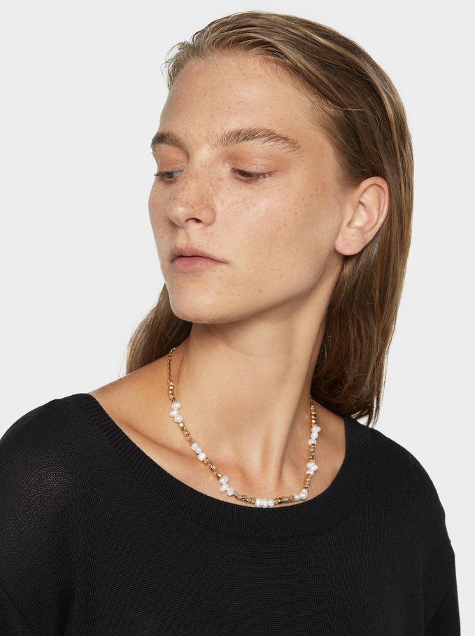 Short Fancy Pearls Necklace, White, hi-res