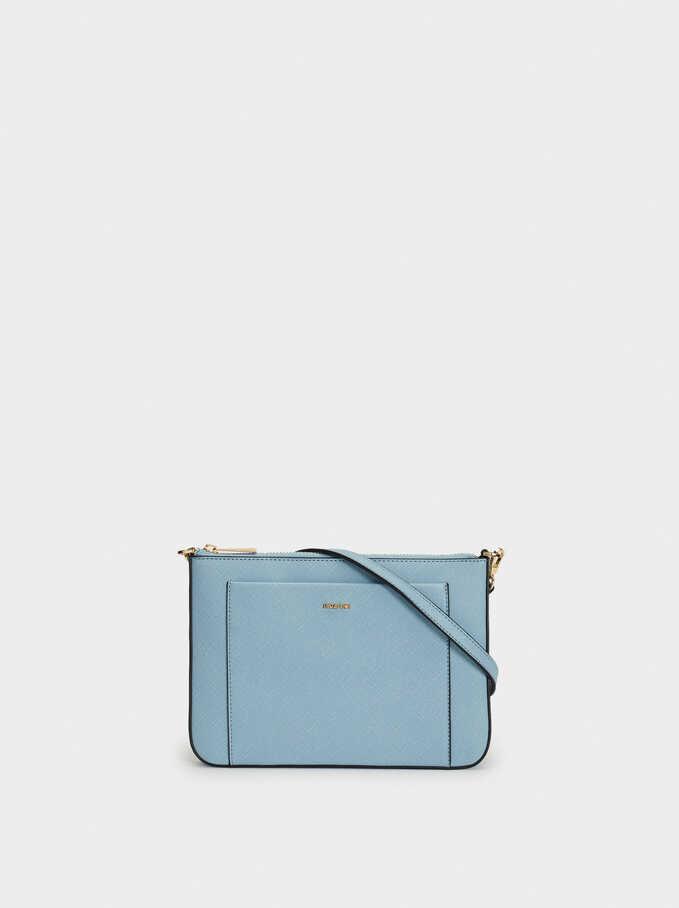 Shoulder Bag With Outer Pocket, Blue, hi-res
