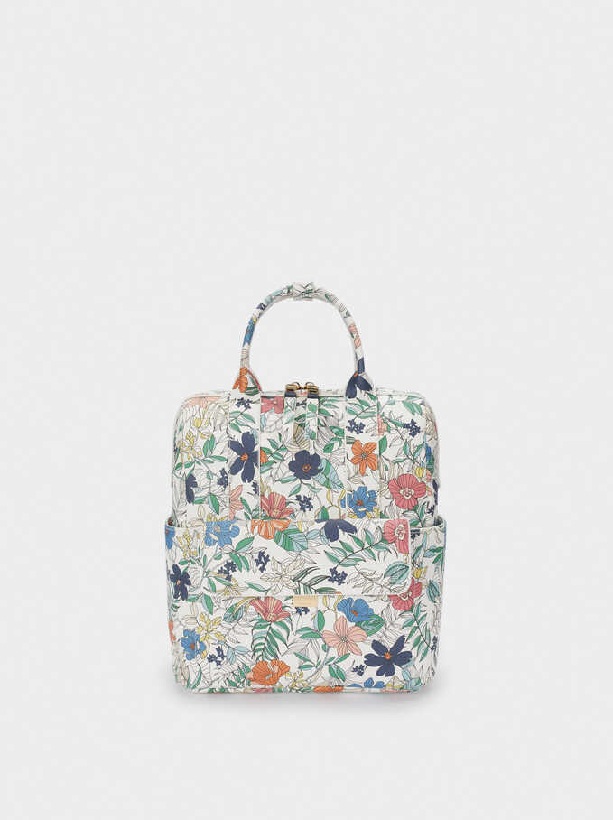 Double-Position Floral Print Backpack, Navy, hi-res