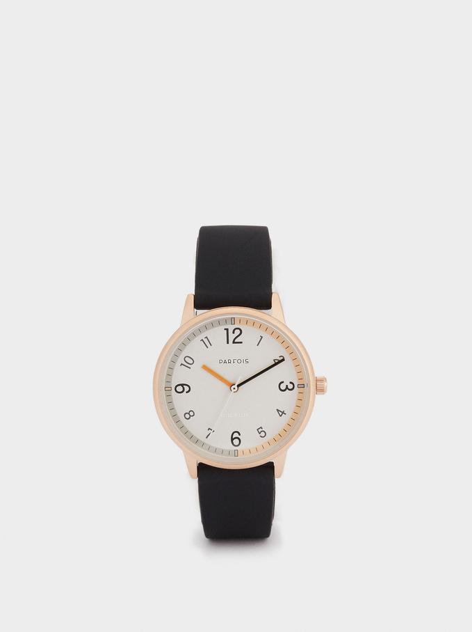 Montre-Bracelet En Silicone Avec Cadran Rond, Noir, hi-res