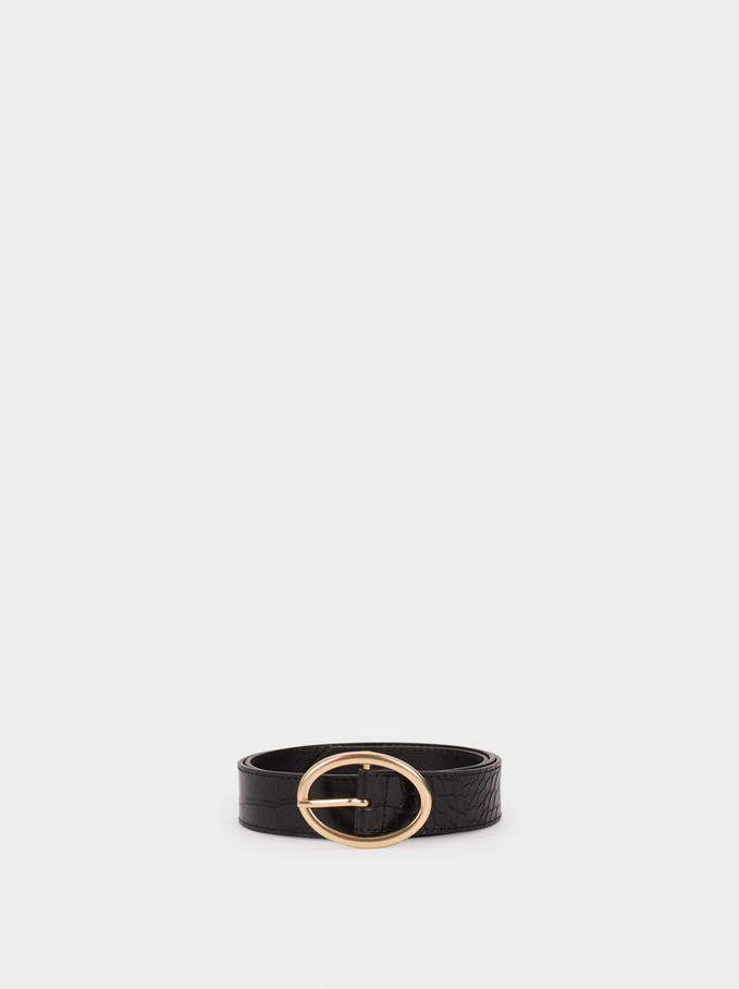 Animal Embossed Belt, Black, hi-res
