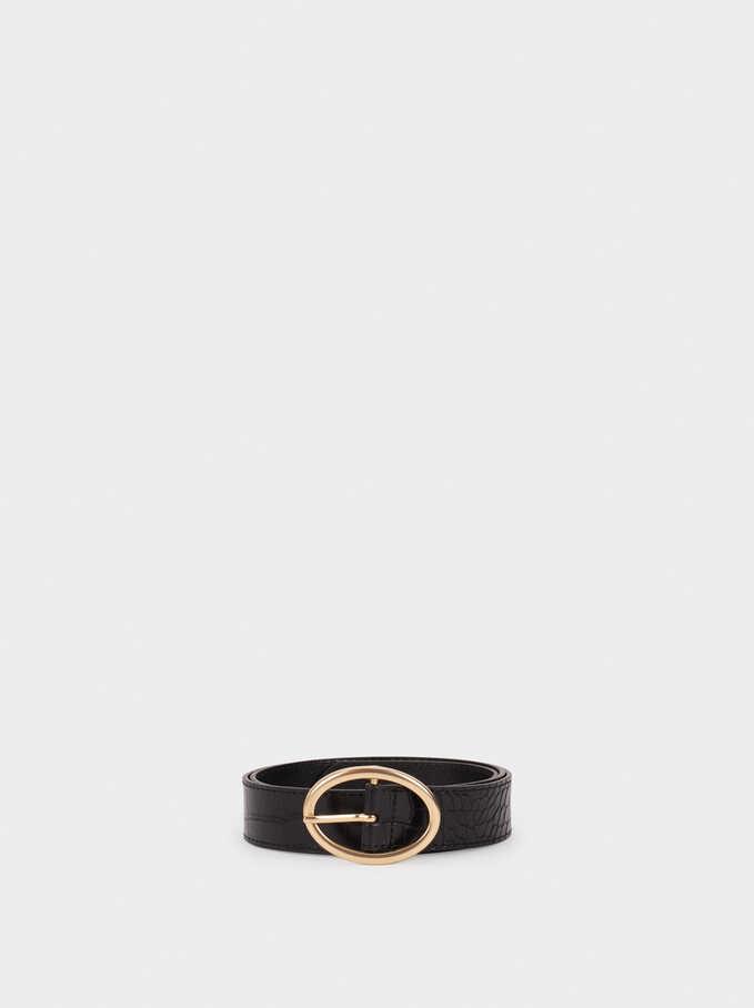 Cinturón Con Grabado Animal, Negro, hi-res