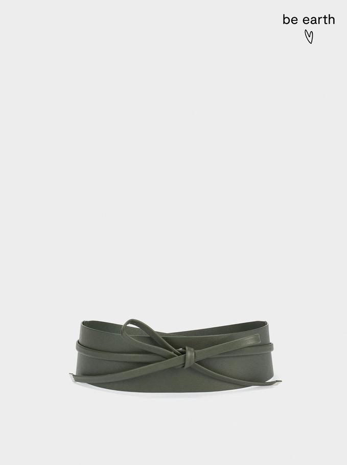 Sash Belt Made From Recycled Materials, Khaki, hi-res