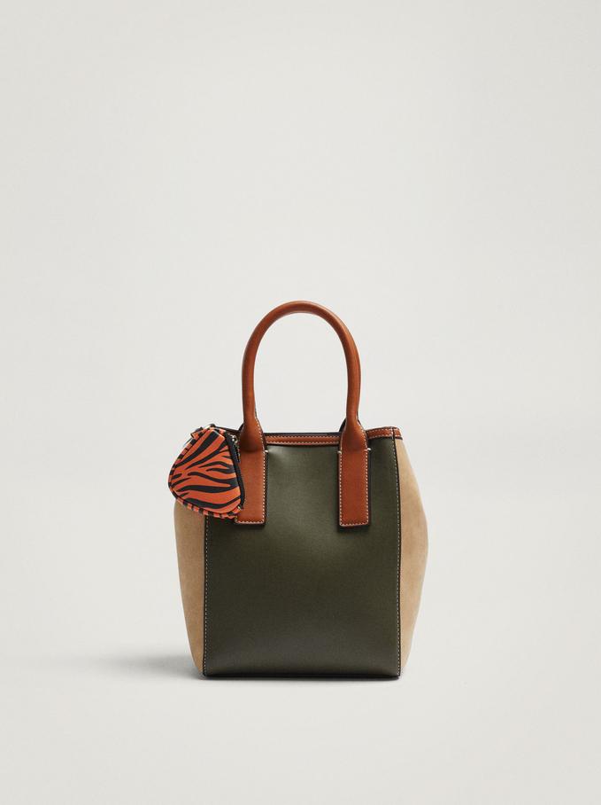 Contrasting Tote Bag With Pendant, Khaki, hi-res