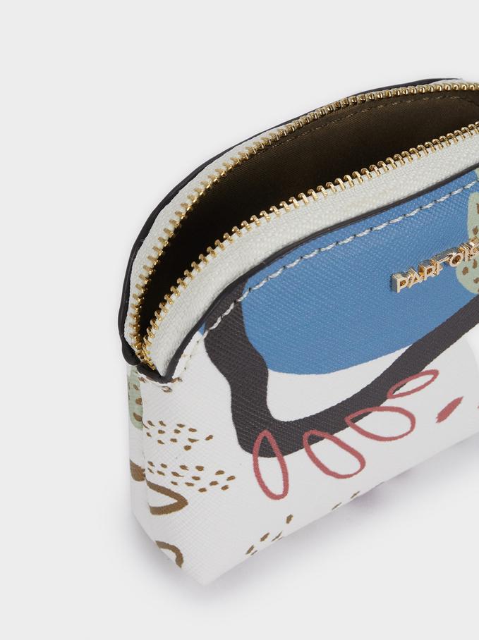 Porte-Monnaie Imprimé Multicolore, Écru, hi-res