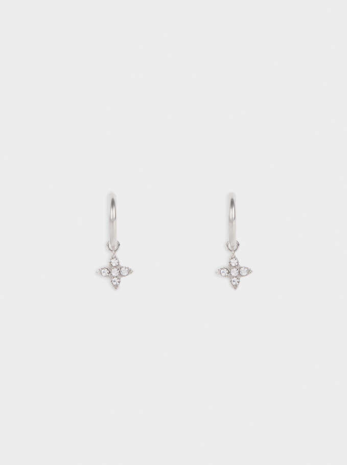Stainless Steel Silver-Finish Small Earrings, Silver, hi-res