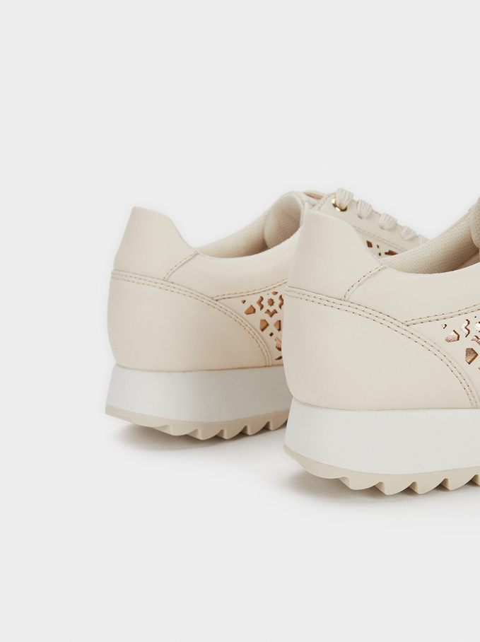 Trainers With Cut-Out Detail, White, hi-res