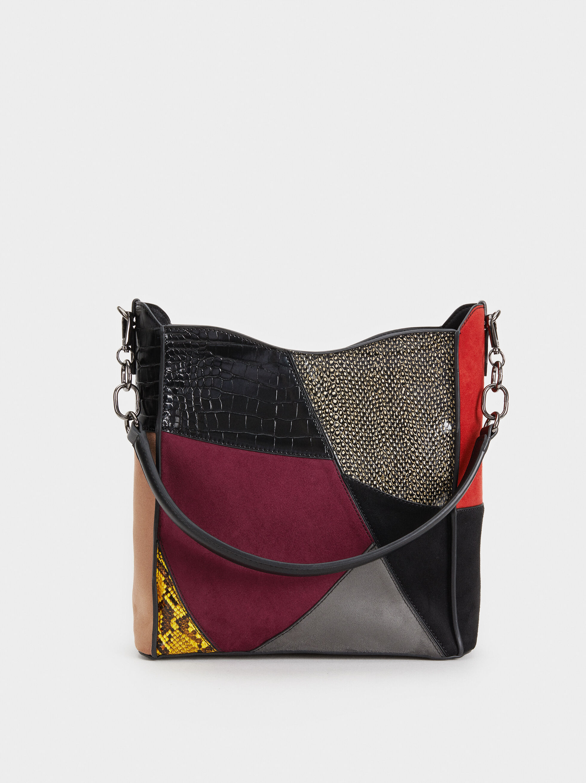 Patchwork Handbag, Black, hi-res