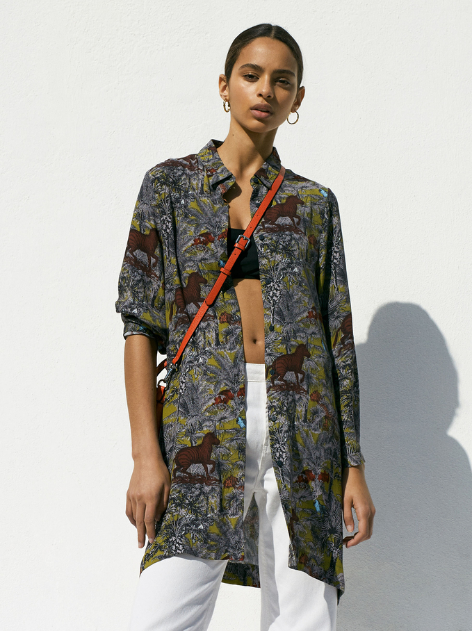 Shirt Dress With An Animal Print, Khaki, hi-res