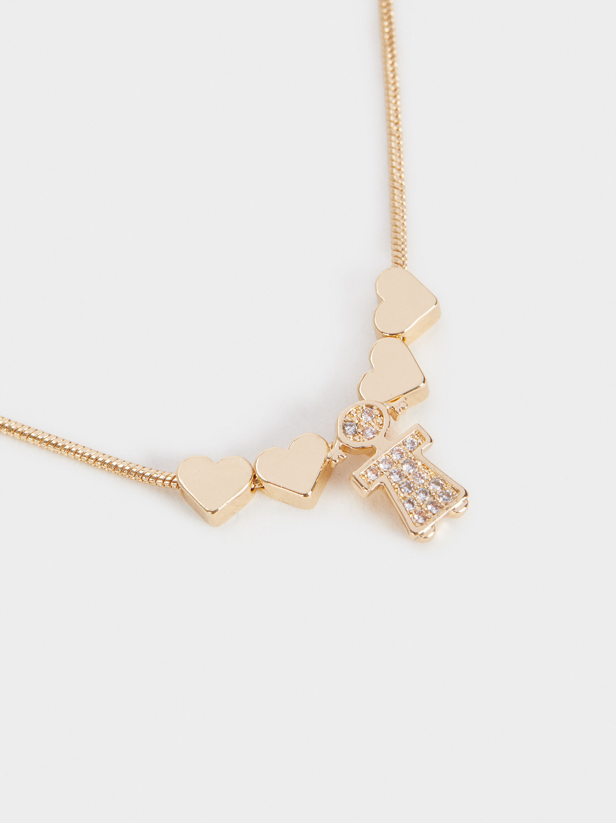 Girl'S Short Heart Necklace, Golden, hi-res