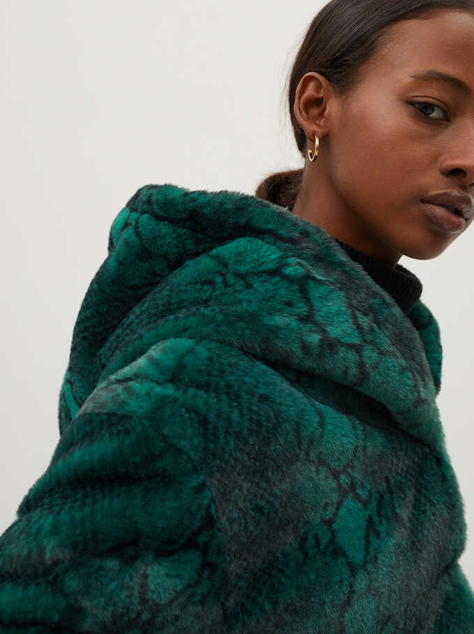 Snake Print Coat With Hood, Green, hi-res